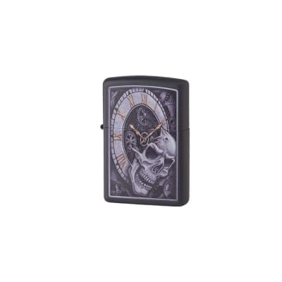 Zippo Black Slull With CLock-LG-ZIP-29854 - 400